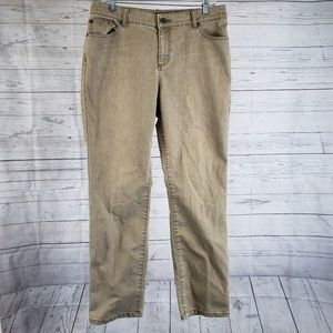 Chicos Platinum Jeans Sz 2 Brown Straight Leg